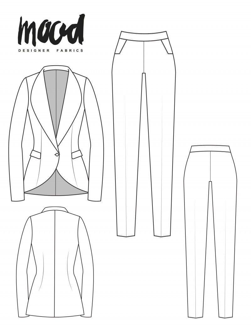 Suit Pattern : pattern, Ercilla, Sewing, Pattern, Sewciety, Jacket, Sewing,, Patterns, Free,, Pants