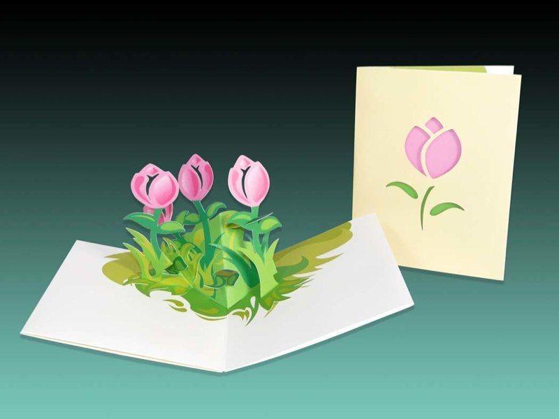 Днем рождения, простая объемная открытка с цветами