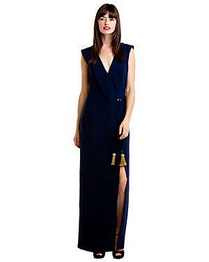 dress:  Badgley Mischka Navy Crepe Gown $825.00, $199.90