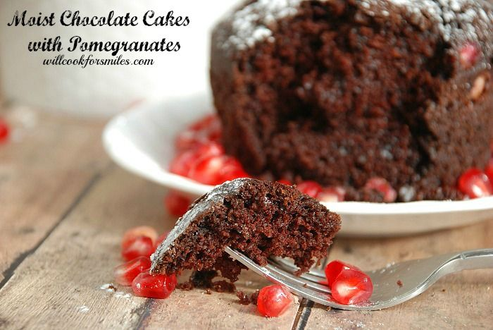 Delicious, moist chocolate cakes loaded with fresh pomegranate seeds and made in individual servings.