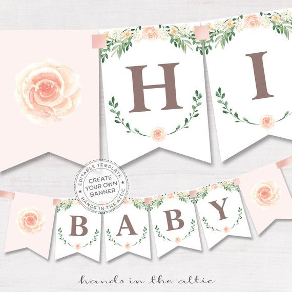 Bridal Shower Banner Spring Celebration Editable Floral Baby Pink Rose