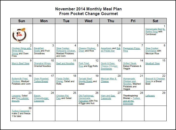 November  Meal Plan  Menu Plans    Meals Menu