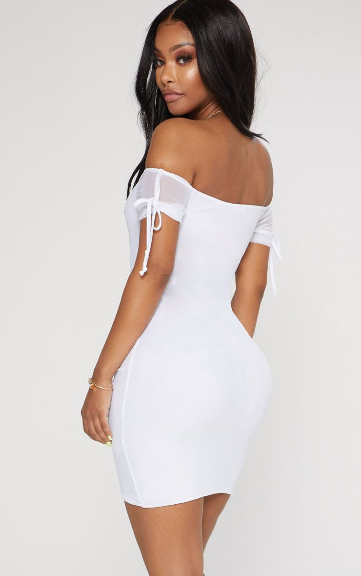41b448463a89 Shape White Ruched Mesh Bardot Bodycon Dress in 2019 | Products ...