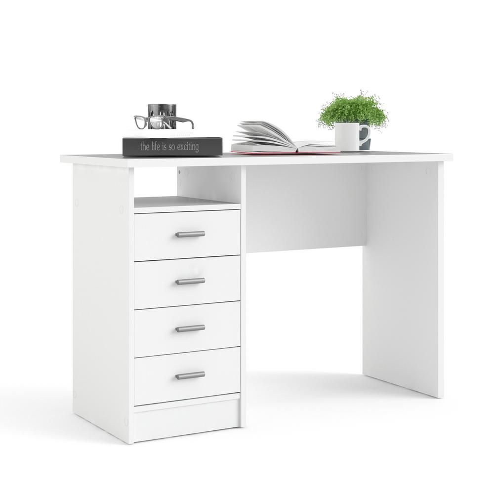 Tvilum 44 In Rectangular White 4 Drawer Writing Desk With Built In Storage 8014649 The Home Depot White Desk With Drawers Tvilum White Desk Bedroom Desk with drawers and shelves