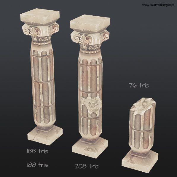 Modular column 3d model textured hand painting texture for Prefab columns