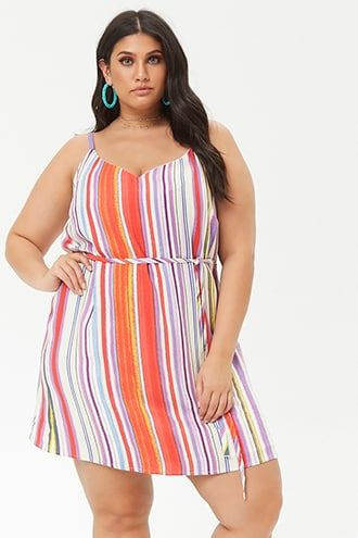 5c017a7e3a8e Plus Size Striped Cami Dress   Products   Plus size weekend dresses ...