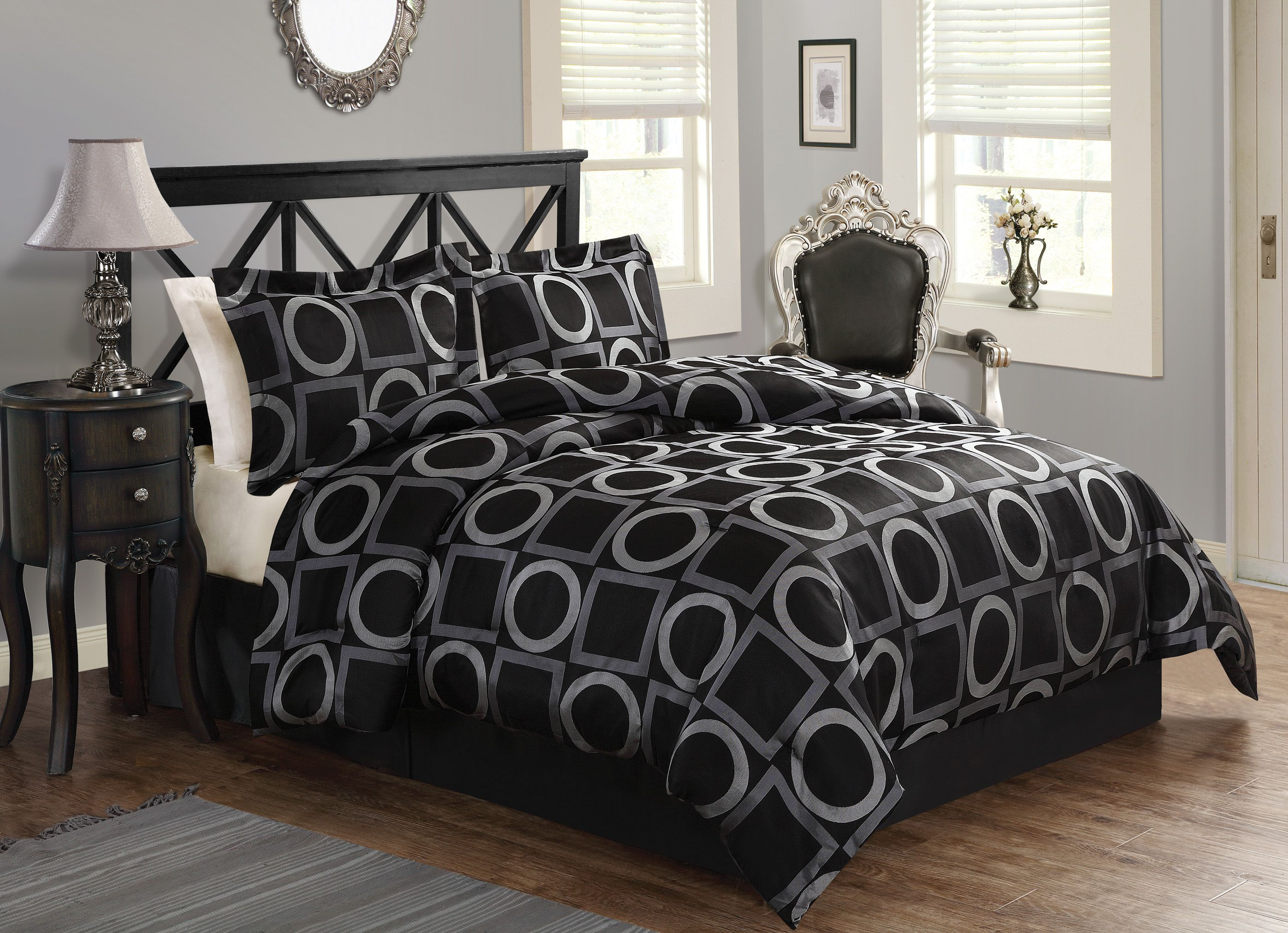 The Geo Grid Black comforter set is very bold and modern