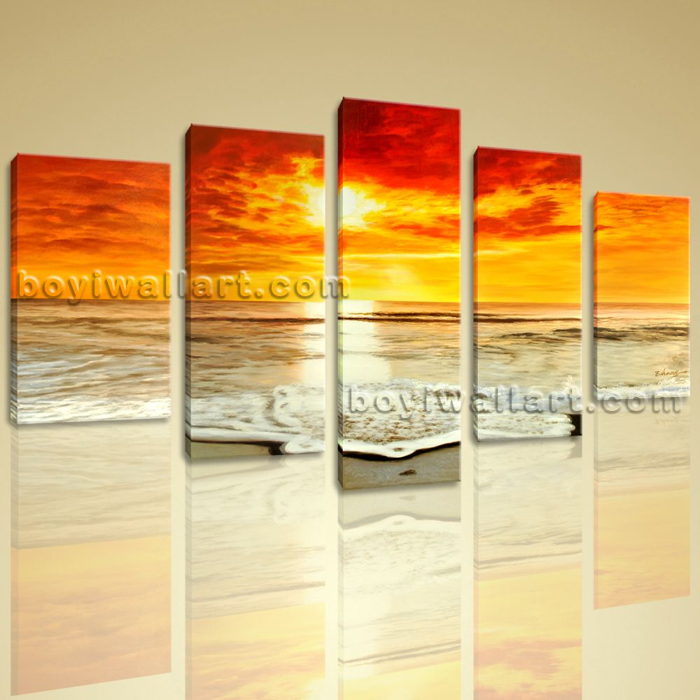 Large HD Canvas print 5 Pieces Framed Beach Wall Art Sunset Seascape ...