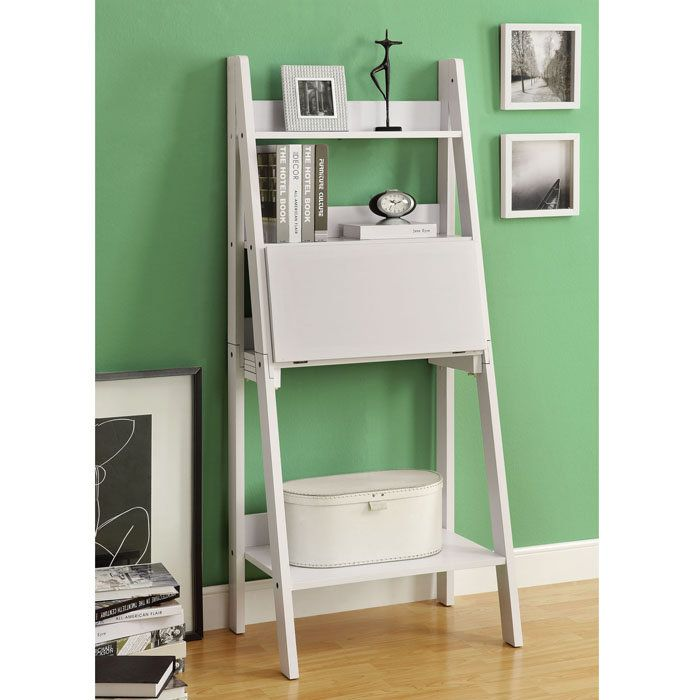 White Ladder Desk Ikea With Shelf And Door Panel A Book