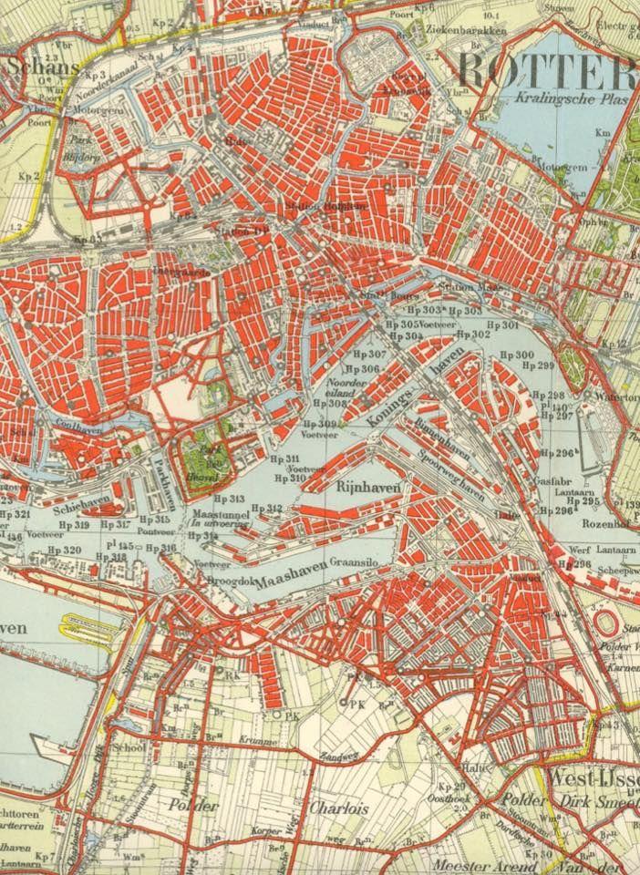 Rotterdam - plattegrond van voor 1940   rotterdam   Rotterdam ...