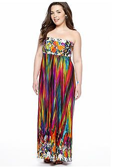 Free 2 Luv Plus Size Strapless Maxi Dress - Belk.com ...