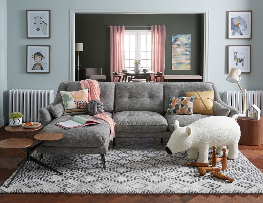 Alexi Grey Left Facing Sectional Sofa Sectional Sofa Room Multicoloured Cushions