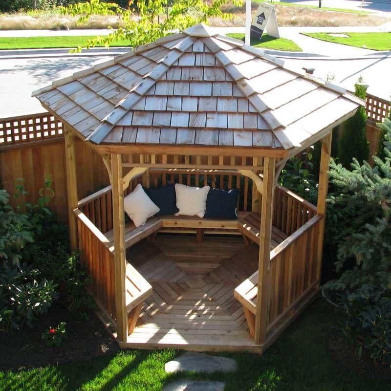Hexagon Cedar Gazebo Kit 8ft Outdoor Pergola Backyard Gazebo