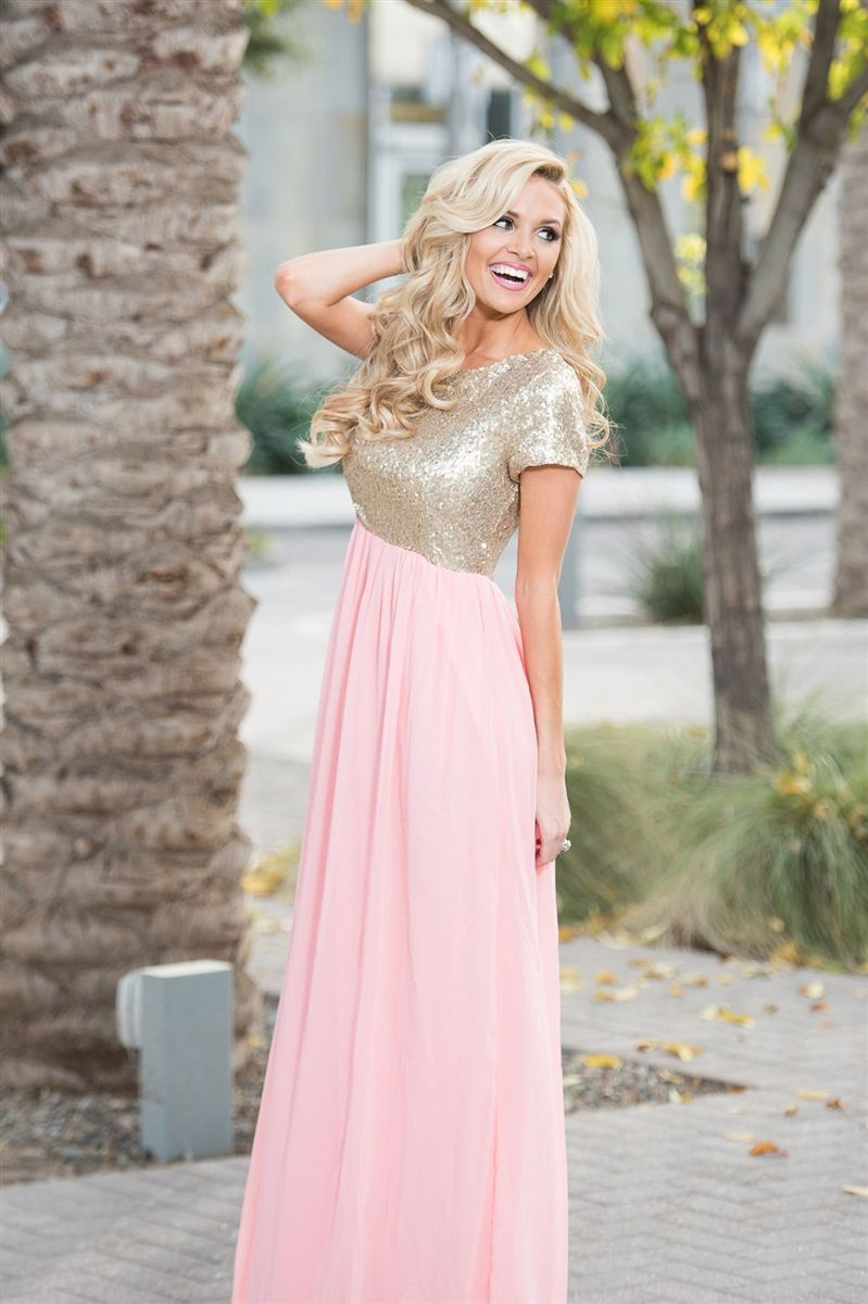 The elsa maxi dress in rose pink chiffon maxi for Pink and gold wedding dress