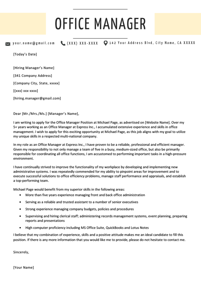 Office Manager Cover Letter Example & Writing Tips