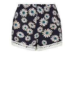Parisian Navy Crochet Hem Flower Print Shorts | New Look