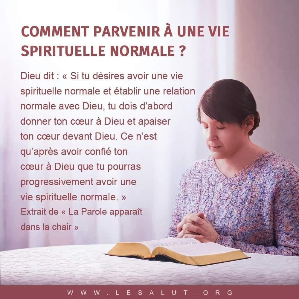 Comment Parvenir A Une Vie Spirituelle Normal Si Tu Desires Avoir Une Vie Spirituelle Normale Et Etablir Une R Vie Spirituelle Citations Bibliques Relation