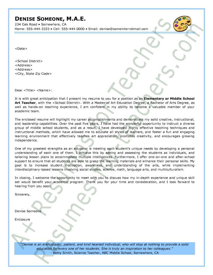 Teacher Cover Letter And Resume Sample Art Teacher Cover Letter  Art School  Pinterest  Sample .