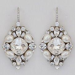 Pearl Crystal Bridal Earrings