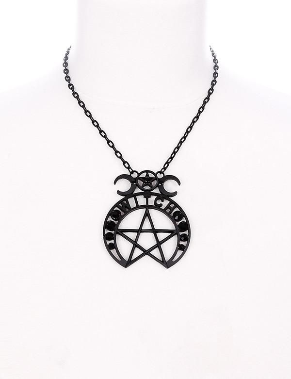 Restyle Crescent Moon Pentagram Occult Wicca Witch Pendant Necklace Jewellery