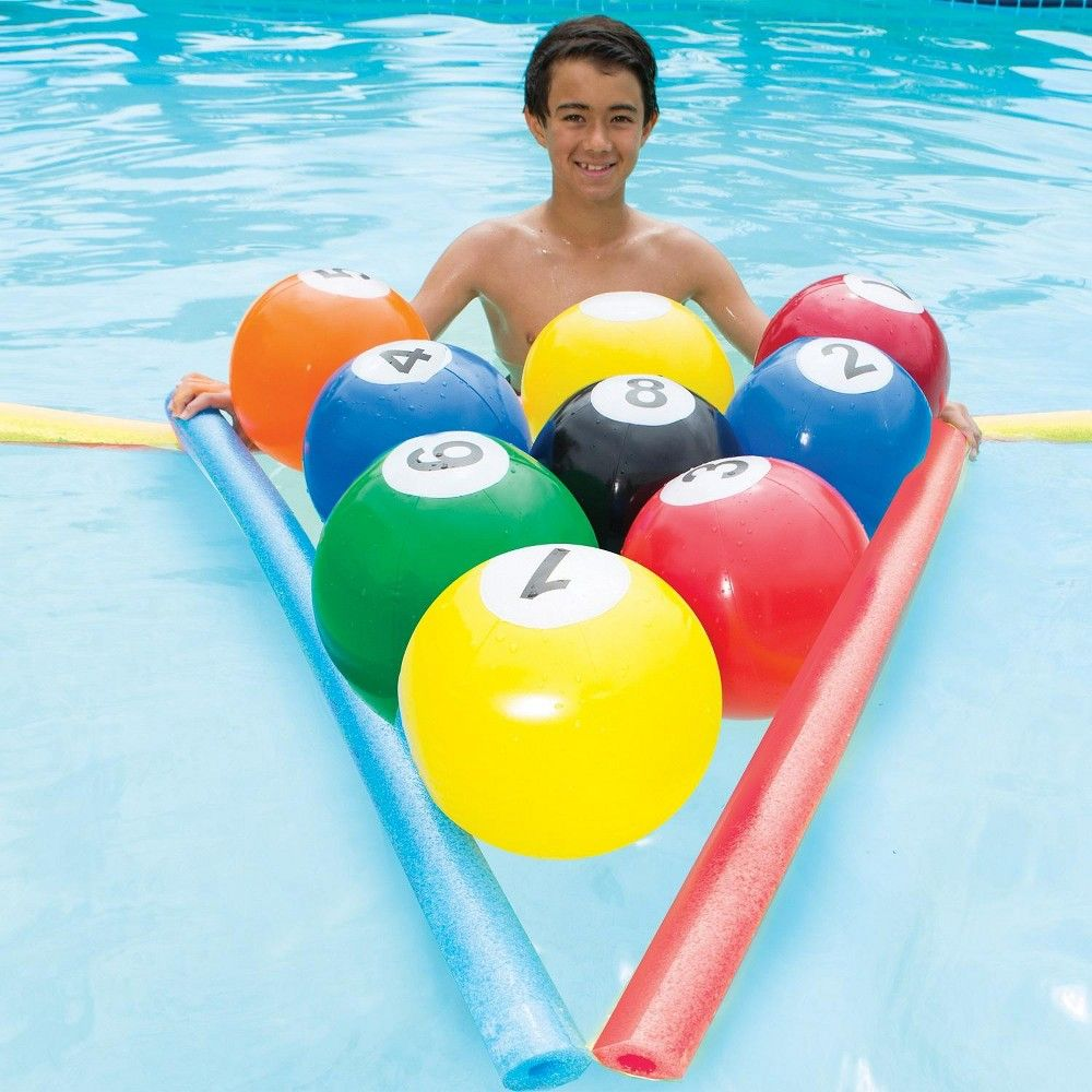 Swim Way 10-pc Blow-Up Billiards Inflatable Beach Ball ...
