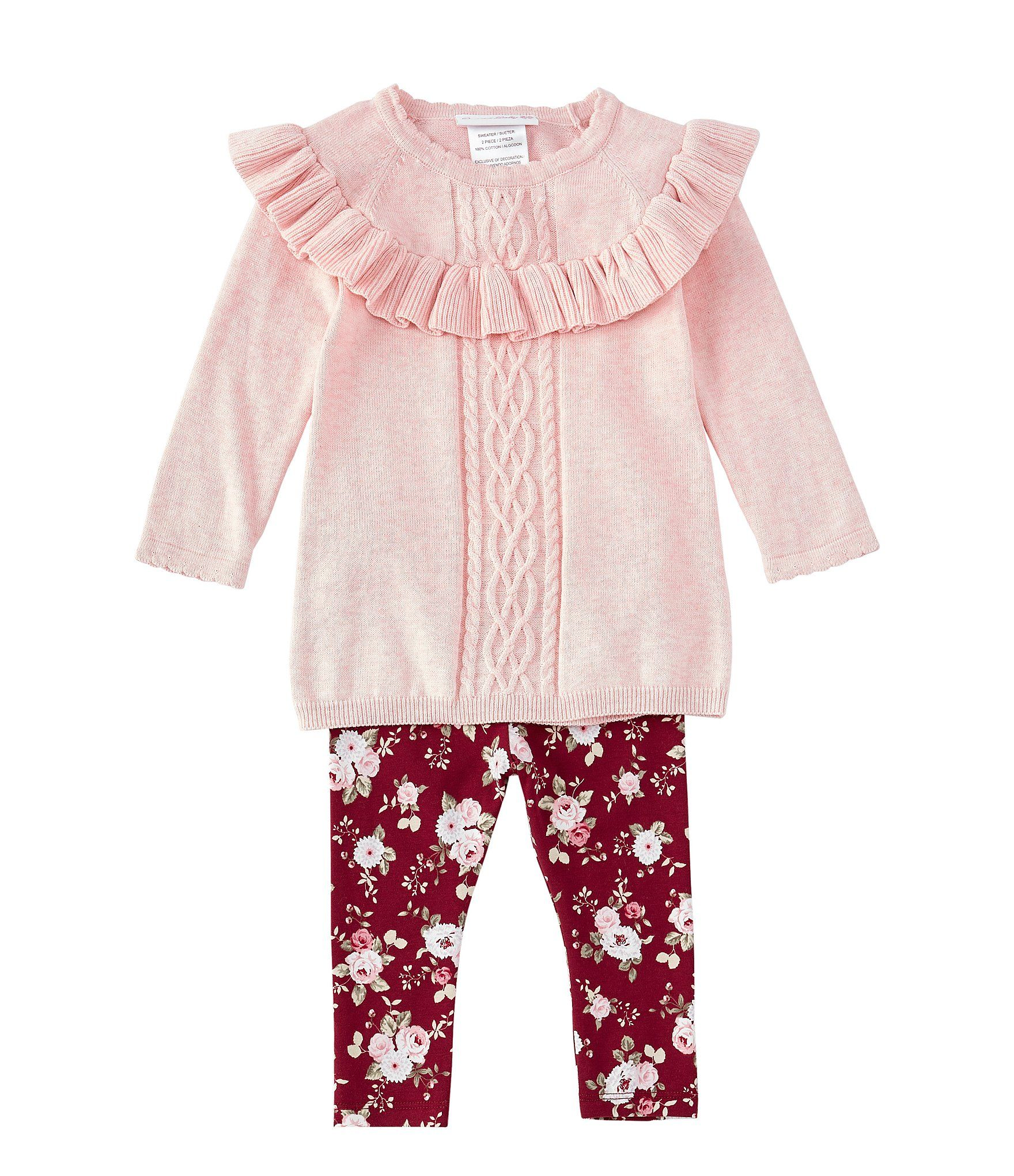 Photo of Bonnie Jean Baby Girls 12-24 Months Cable-Knit Sweater  Floral Leggings Set – Pink 18 Months