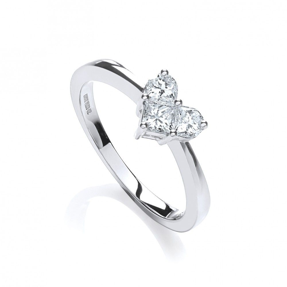 White Gold Diamond Heart Cocktail Dress Ring 0 62cts Crafted From