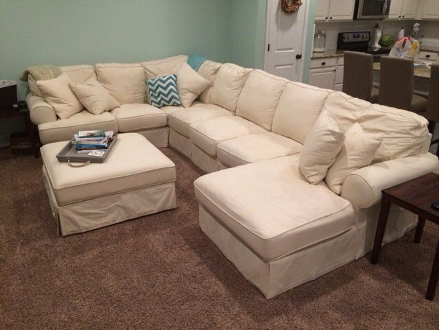 Beautiful Ashley Furniture White Slipcover Sectional U2014