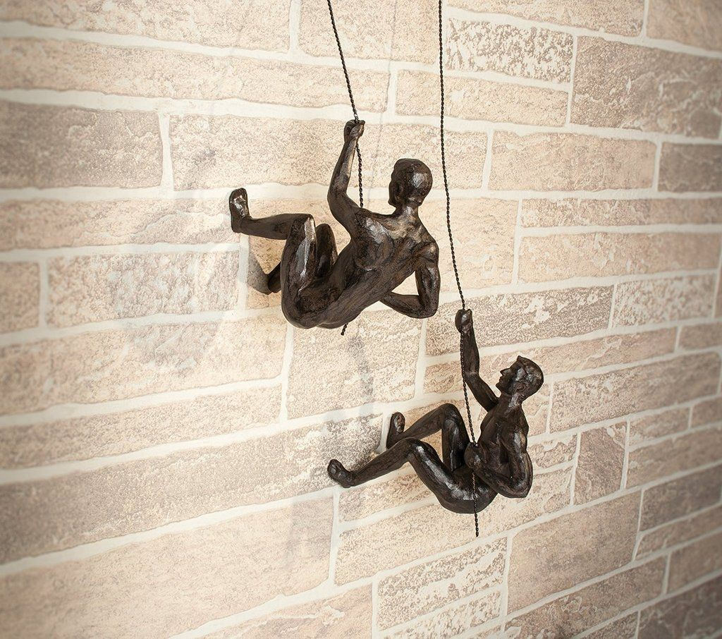 Two Athletes Ready To Scale Any Precipice This Dynamic Resin Climbing Man Wall Sculpture Will Bring The Thrill Of Sport Your Home