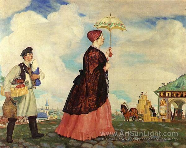 Mercahnt Жена с покупками - Бориса Кустодиева