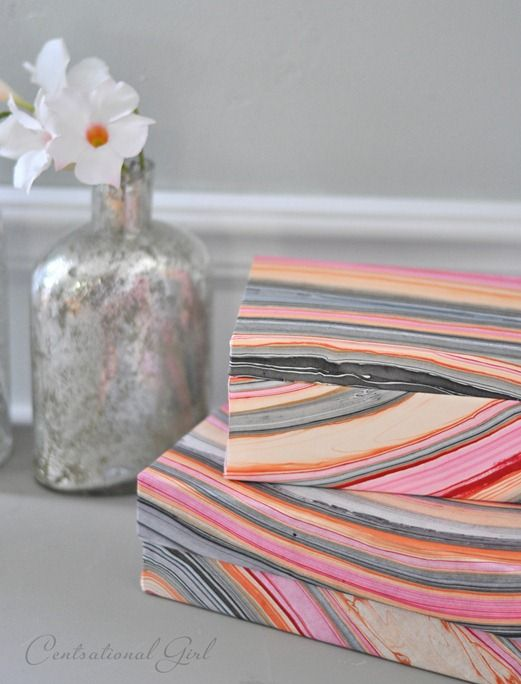 DIY Marbled Paper Wrapped Boxes...these are awesome looking!