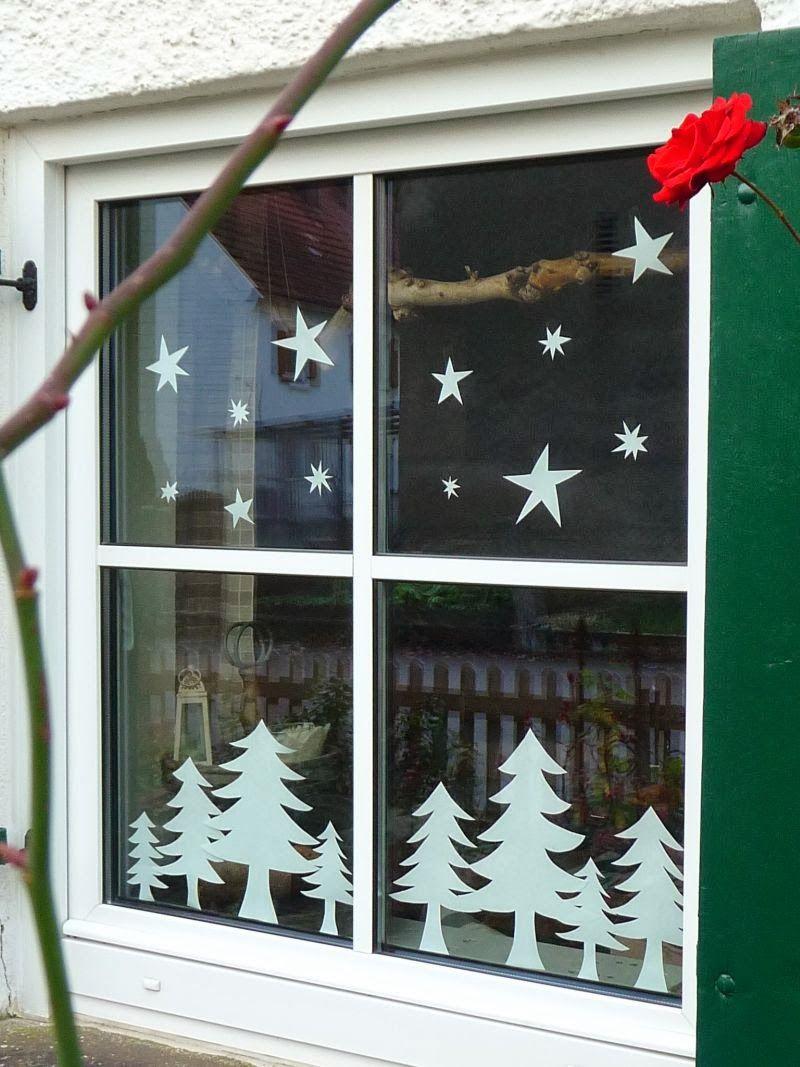 Meine grüne Wiese: Sterne und Bäume im Fenster #fensterdekoweihnachten