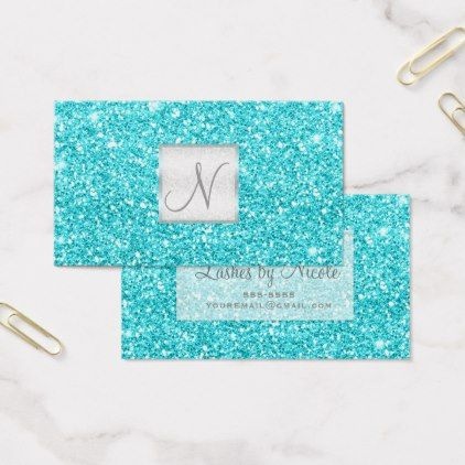 Aqua blue glitter chic glam glitzy salon spa business card chic aqua blue glitter chic glam glitzy salon spa business card chic design idea diy elegant reheart Choice Image