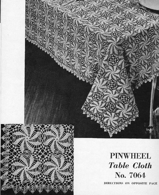 crocheted lace: Crocheted Pinwheel Tablecloth | Crochet Tablecloths ...