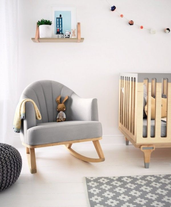 Bunny Clyde Rocking Chair For Nursing Feeding Birch Wood Grey