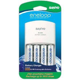 Sanyo New 1500 Eneloop 4 Pack Aa Ni Mh Pre Charged Rechargeable Batteries With Charger Rechargeable Batteries Rechargeable Batteries Sanyo Aa Battery Charger