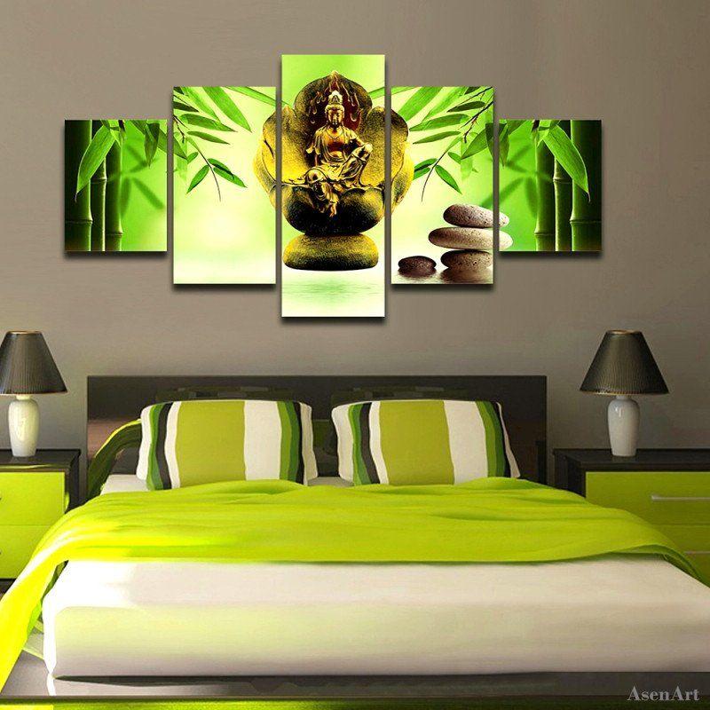 5 Pieces Modern Buddha Wall Art Canvas Printed Painting Decorative