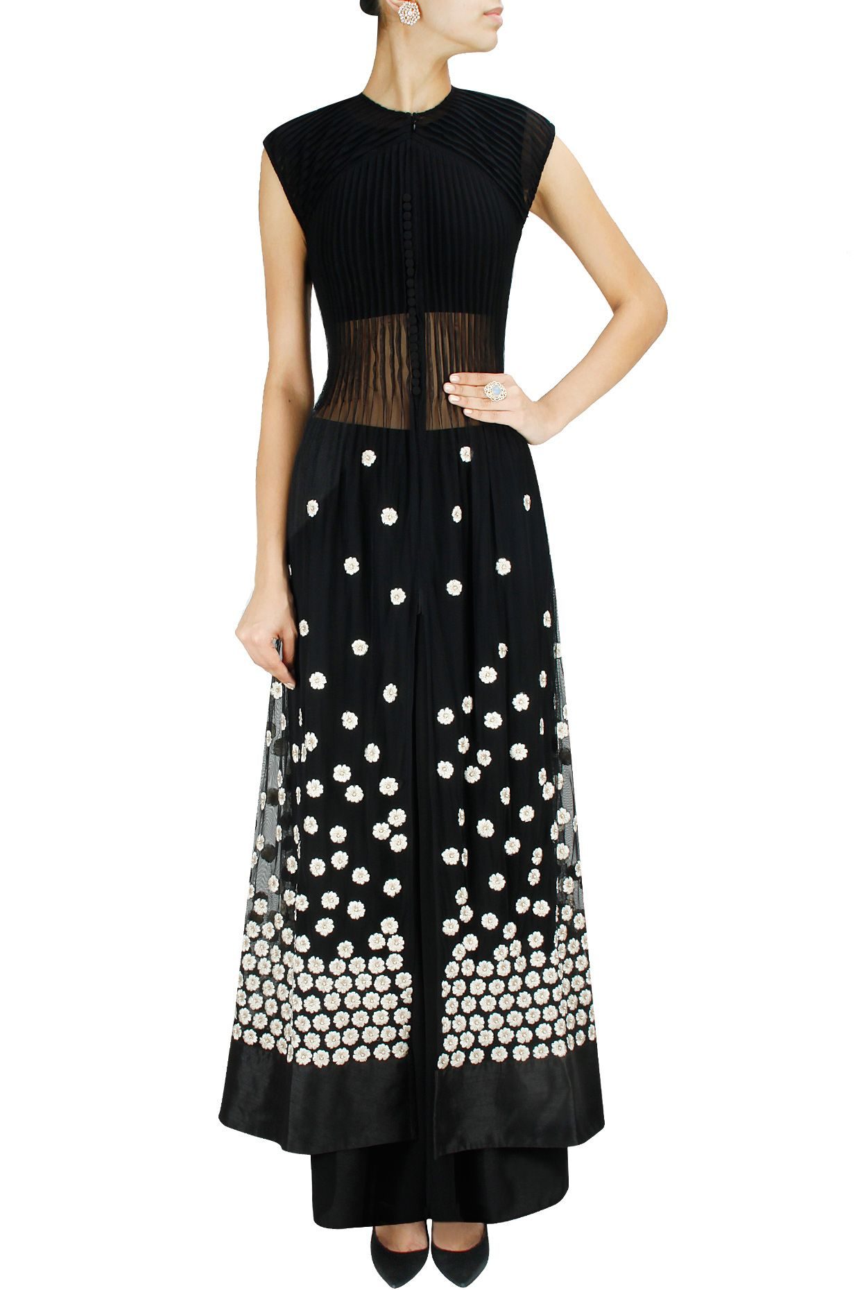 Shirt design with palazzo - Black Embroidered Sheer Pleated Anarkali Jacket With Palazzo Pants By Ridhi Mehra Shop Now At Www Perniaspopups