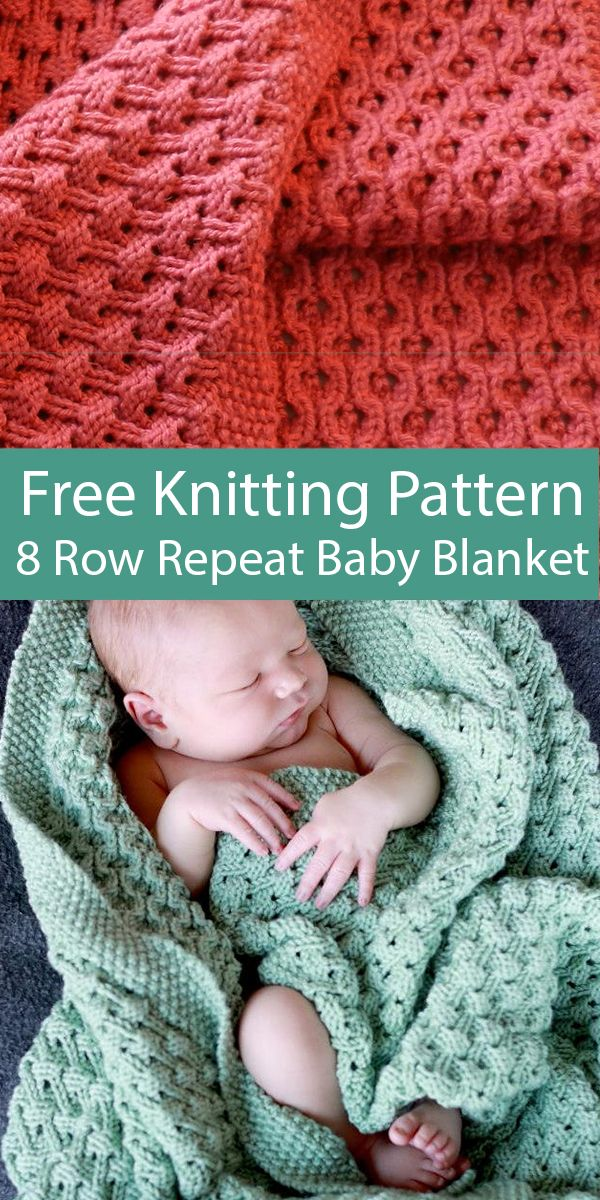 Free Knitting Pattern for 8 Row Repeat Hourglass Eyelet Baby Blanket