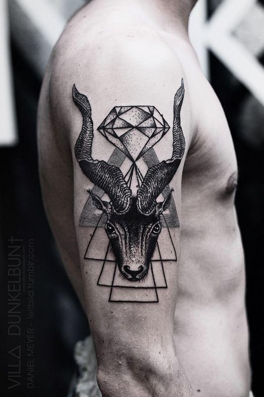 c38de2dbe triangle goat head by daniel meyer @ VILL∆ DUNKELBUN† #arm #tattoos ...