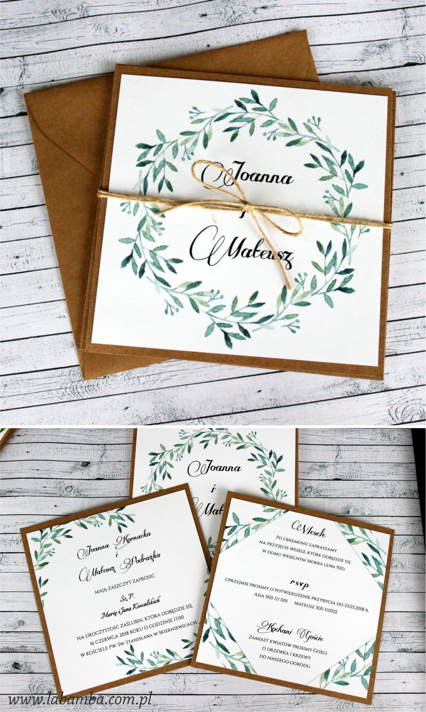 Zielone Listki With Images Rustykalne Zaproszenia Na Slub