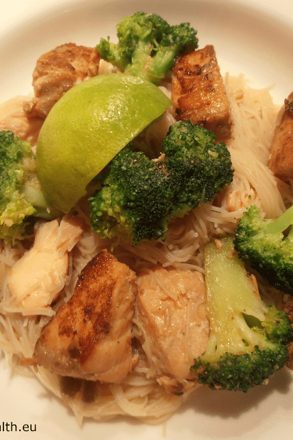 Teriyaki Salmon with Broccoli and Rice Vermicelli