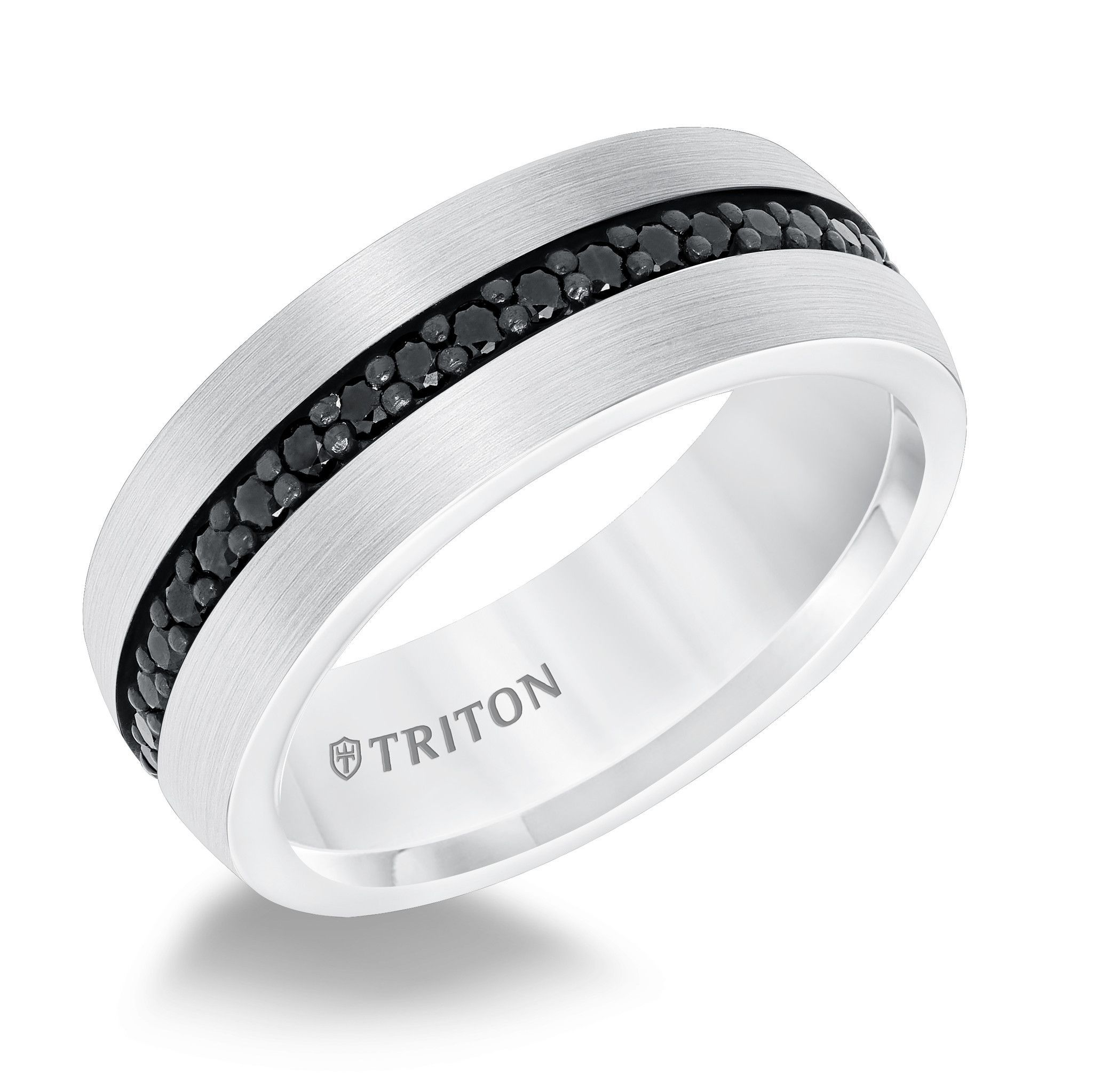 8mm Black Sapphire and White Tungsten Carbide Eternity Wedding