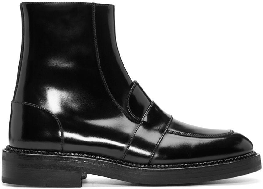 Yang Li: Black Penny Loafer Ankle Boots   SSENSE   Minimal