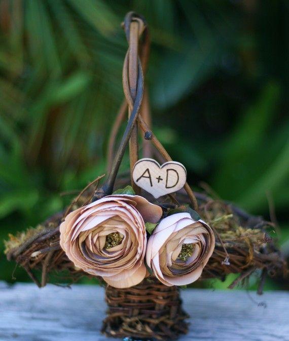 Nikki Make Small Ring Pillow To Hold RingsFlower Girl Basket Rustic Wedding Shabby Chic Item By Braggingbags