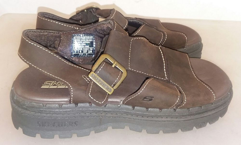 Skechers Jammers 45315 Brown Leather Ankle Strap Sandal Women S Us