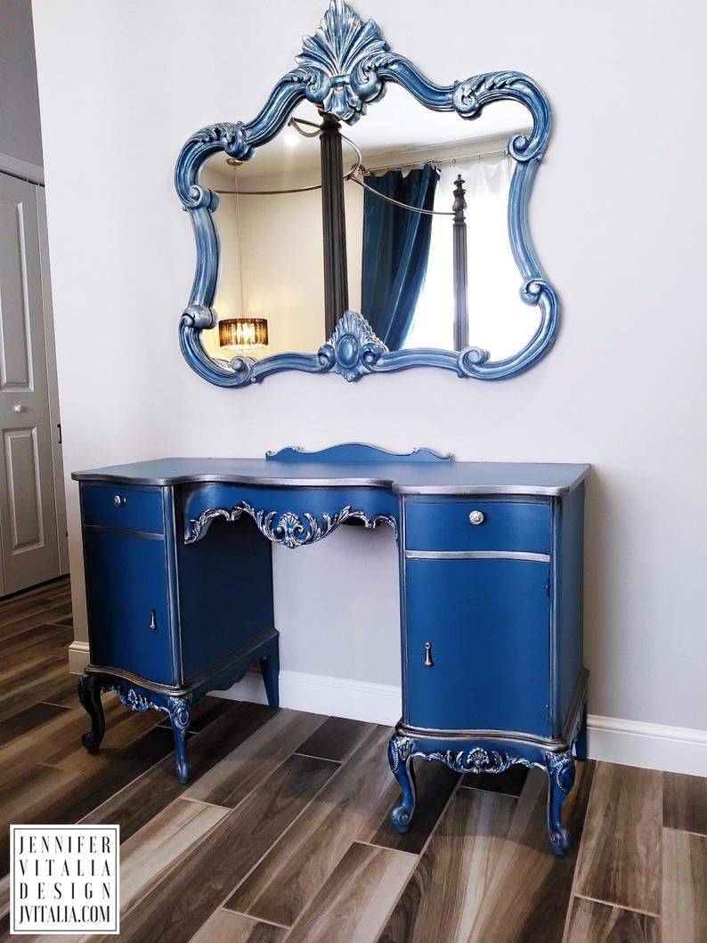 Vintage MakeUp Vanity Queen Anne French Antique Vanity - Custom Order & Finish - Hand Painted Make Up Vanity French Romantic Grey