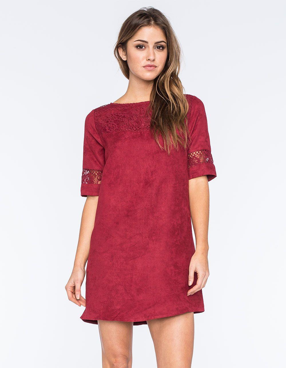 FIRE Lace Suede Shift Dress 268105320 | Fall 2015