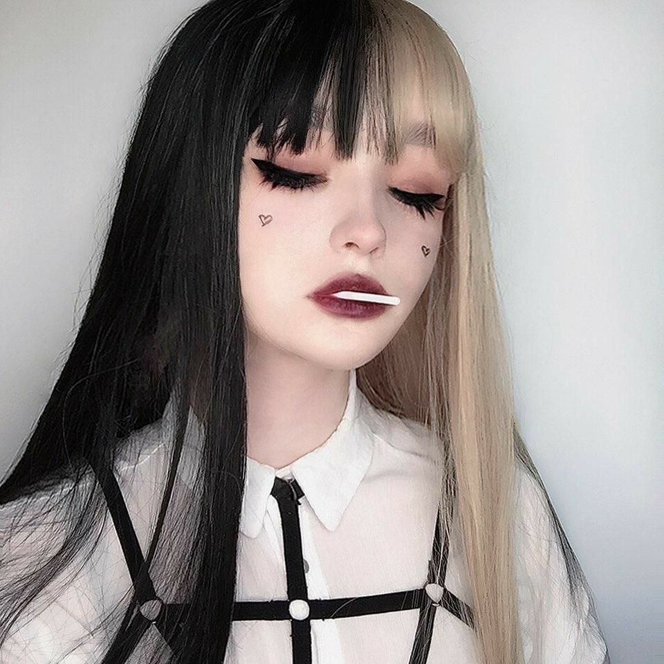 Colored Hair In 2020 Edgy Makeup Aesthetic Hair Aesthetic Makeup