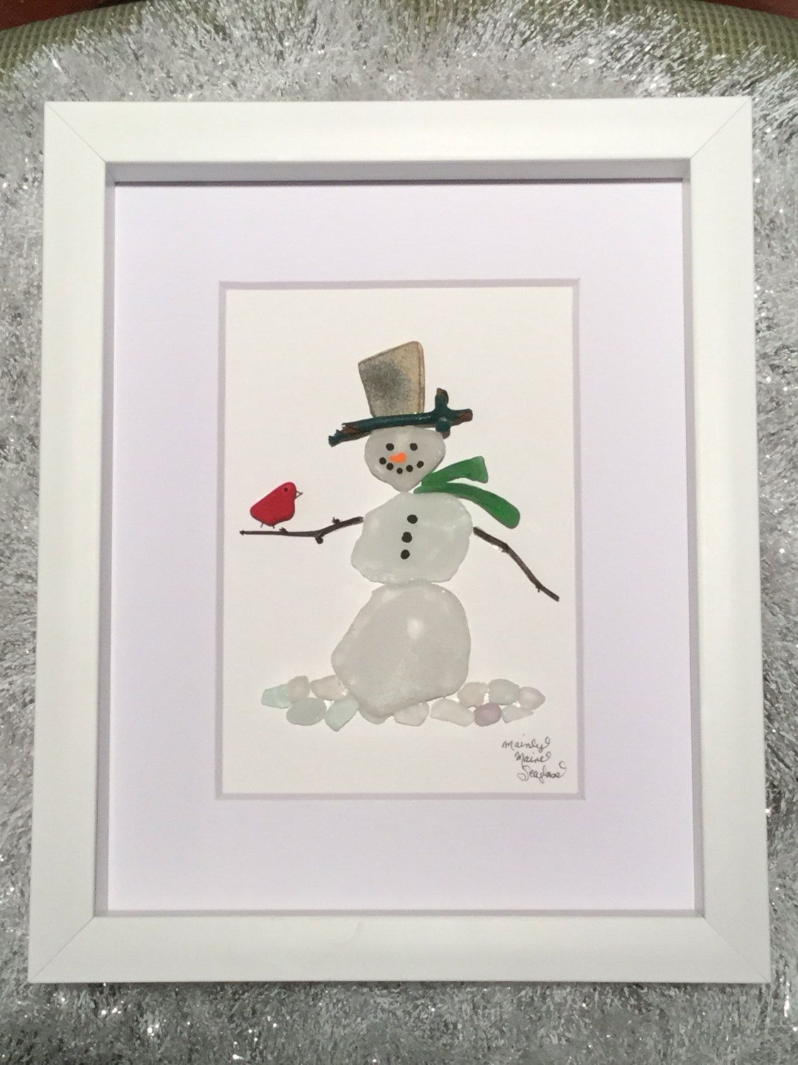 Snowman With Cardinal Unique Gift Sea Glass Art